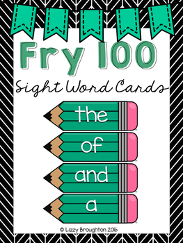 Fry 100 Word Wall Sight Word Cards- Turquoise