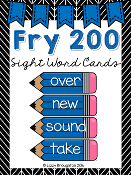 Fry 200 Word Wall Sight Word Cards- Blue