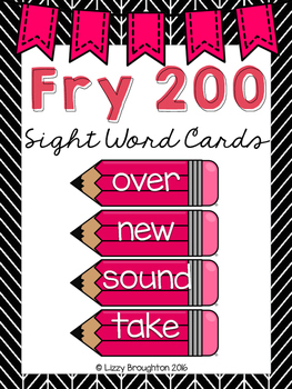Fry 200 Word Wall Sight Word Cards- Pink