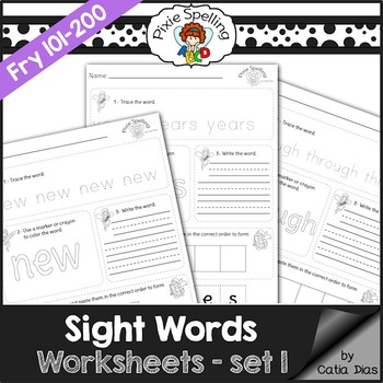 Sight Words Worksheets - Fry 101 to 200