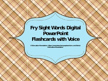 Fry Digital Sight Word PowerPoint Flashcards (Fry Words 70
