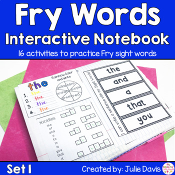 Fry First 100 Set 1 Sight Word Interactive Notebooks Set 1