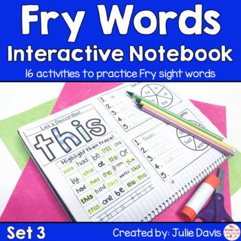 Fry First 100 Set 1 Sight Word Interactive Notebooks Set 3