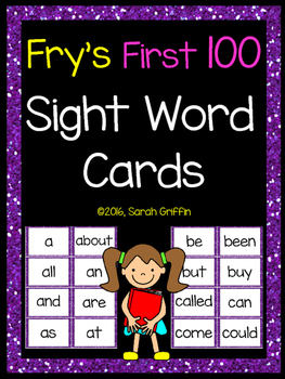 Fry First 100 Sight Words - Word Wall Cards - Purple Glitter