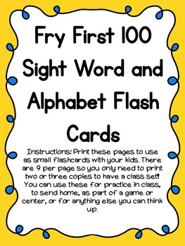 Fry First 100 Sight Words and Alphabet Flash Cards