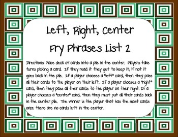 Fry Phrases 2: Left, Right, Center Game