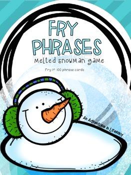 Fry Phrases Fluency Melted Snowman FREEBIE