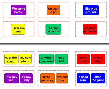 Fry Phrases Sight Word Cards for Candyland Set 2A