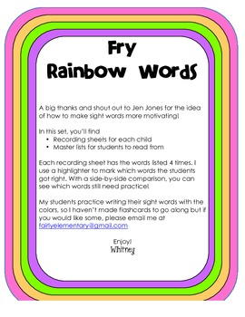 Fry Rainbow Words