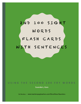 Fry Second Hundred Words - Flash Cards With Sentences