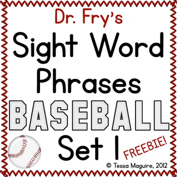 Fluency with Fry Sight Word Phrases Baseball- List 1