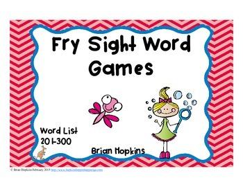 Fry Sight Word Board Games - No Prep  300 Word List