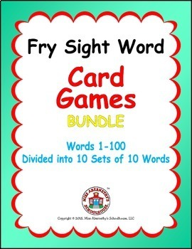 Fry Sight Word Card Games Bundle - Words 1-100