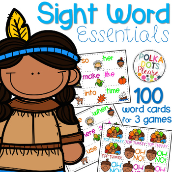 Fry Sight Word Cards and Games Thanksgiving Theme