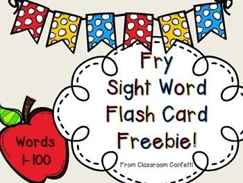 Fry Sight Word Flash Cards Freebie 1-100