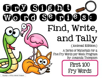 Fry Sight Word Series: Find, Write, and Tally- Animal Edit