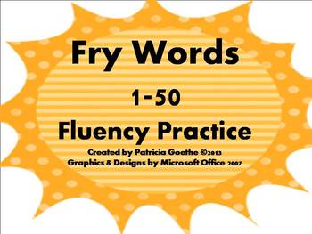 Fry Sight Words 1-50 Fluency Practice Powerpoint