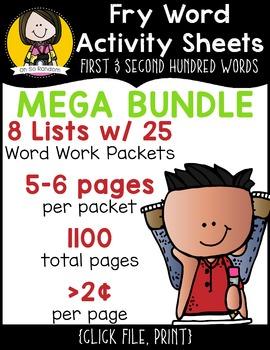 Fry Word Activity Sheets {1st & 2nd Hundred Words MEGA BUNDLE}
