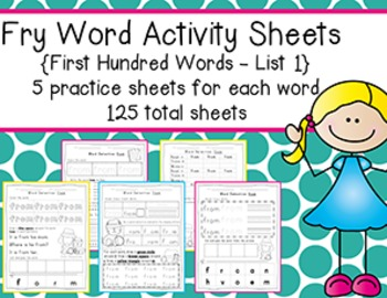 Fry Word Activity Sheets {First Hundred Words - List 1} {C