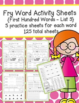 Fry Word Activity Sheets {First Hundred Words - List 3} {C