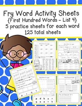 Fry Word Activity Sheets {First Hundred Words - List 4} {C