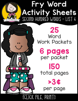 Fry Word Activity Sheets {Second Hundred Words - List 4} {