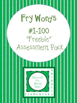 "Fry Words #1-100 ""Freebie"" Assessment Pack"