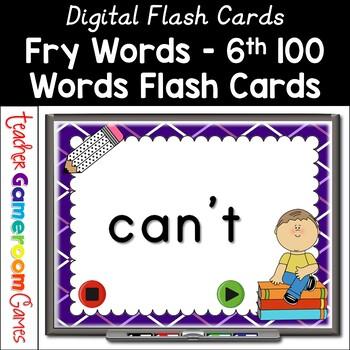 Fry Words - 6th 100 Words - Flash Card Set
