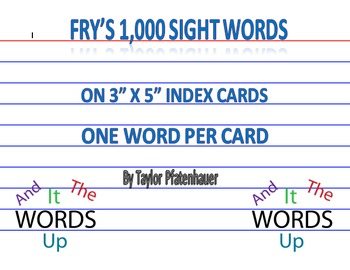 Fry's 1000 Sight Words Flashcards