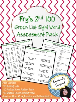 Fry's 2nd 100 Green List Sight Word Spelling Assessment Pack