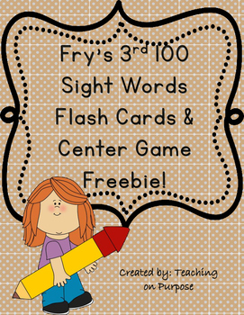 Fry's 3rd 100 Sight Words Flash Cards and Center Game Freebie