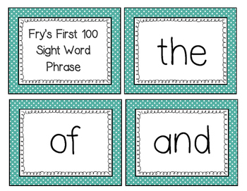 Fry's First 100 Words and Phrases