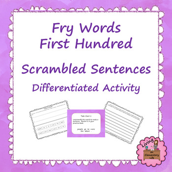 Fry First Hundred Words Scrambled Sentences - Differentiat