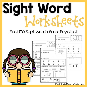 Fry's List Sight Words First 100 Practice Worksheets
