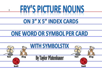 Fry's Picture Nouns 3x5 Cards