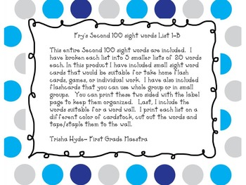 Fry's Second 100 Sight Word Flash Cards