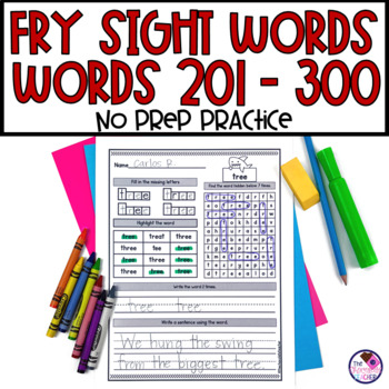 Fry's Sight Word Activities No Prep Low Ink Third 100 Words