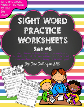 Fry's Sight Word Practice Worksheets-SET 6