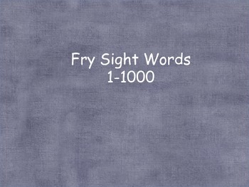 Fry word cards for word wall (1-1000)