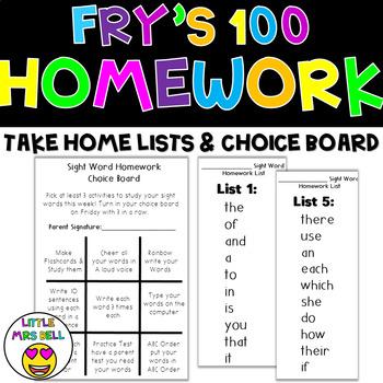 Frys 100 Homework Lists & Choice Board