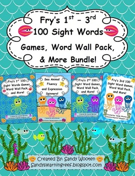 Fry's 1st - 3rd 100 Sight Words, Games, Word Wall Pack and
