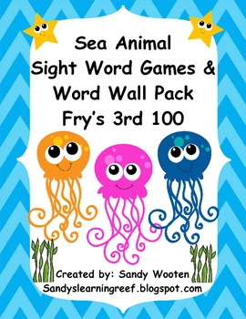Fry's 3rd 100 Ocean Themed Sight Word Games, Word Wall Pac
