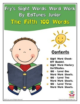 Fry's Fifth 100 Sight Words Work by EdTunes Jr.