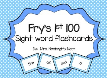 Fry Word Flashcards - first 100