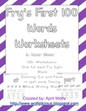Fry's First 100 Sight Word Sheets in Zaner Bloser