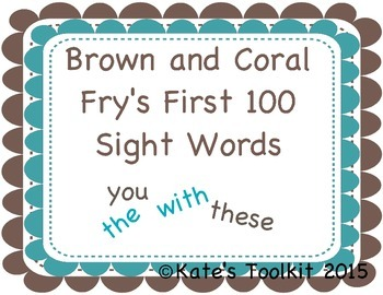 Frys First 100 Sight Words 1