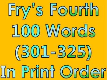 Fry's Fourth 100 Words in Print Order PowerPoint/Flash Car