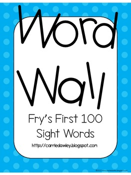 Fry's Instant Word First Hundred Words Word Wall - Blue Dot