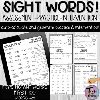 Fry's Instant Words Checklist-First (Automatically Counts