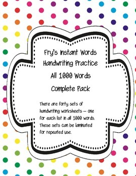 Fry's Instant Words Handwriting Practice All 1000 Words Co